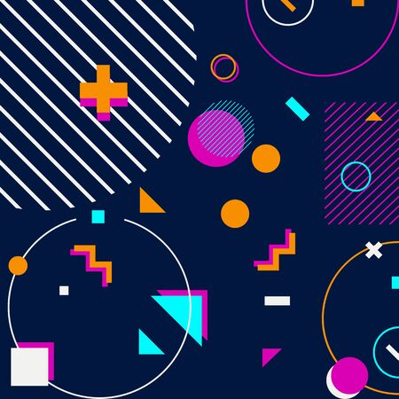 trendy geometric shapes memphis hipster background vector 스톡 콘텐츠 - 127908509