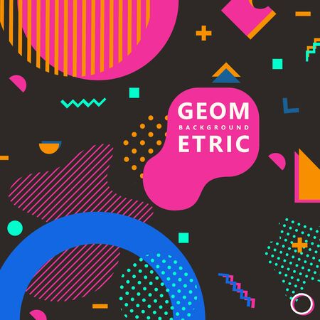 trendy geometric shapes memphis hipster background vector 스톡 콘텐츠 - 127908512
