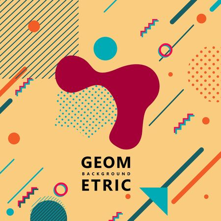trendy geometric shapes memphis hipster background vector 스톡 콘텐츠 - 127908514