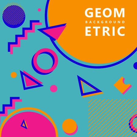 trendy geometric shapes memphis hipster background vector 스톡 콘텐츠 - 127908515