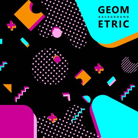trendy geometric shapes memphis hipster background vector 스톡 콘텐츠 - 127908516