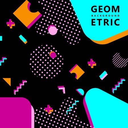 trendy geometric shapes memphis hipster background vector Foto de archivo - 127908516