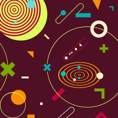 trendy geometric shapes memphis hipster background vector 스톡 콘텐츠 - 127908518