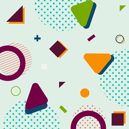 trendy geometric shapes memphis hipster background vector 스톡 콘텐츠 - 127908517