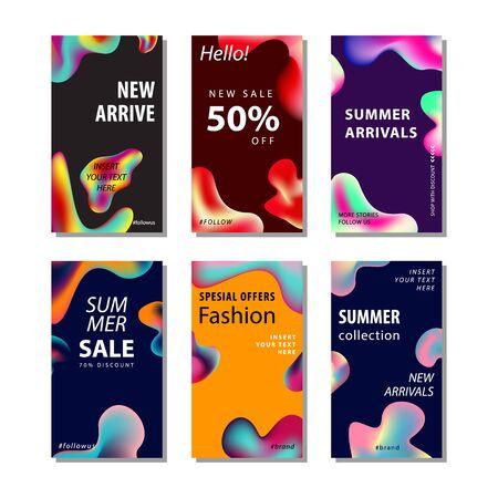 Stellen Sie den Verkaufsbannerhintergrund mit dem flüssigen Steigungselement ein. Geeignet für Bannerverkauf, Präsentation, Social Media Stories, Story, Promotion, Flyer, Poster und Broschüre
