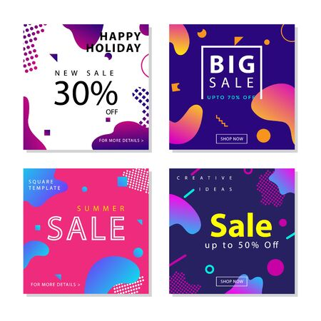 Collection of social media post template with Fluid gradient shapes composition graphic element. For social media post, stories, story, internet web banner