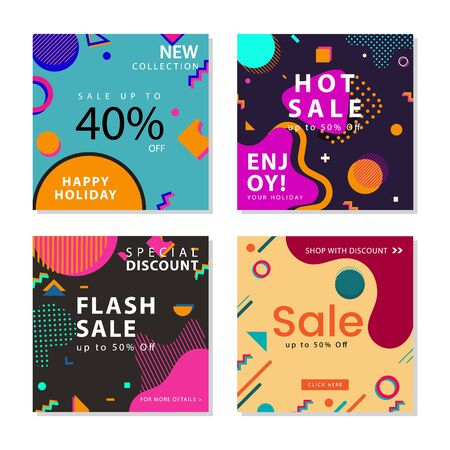 Collection of social media post template with trendy geometric shapes memphis graphic element. For social media post, stories, story, internet web banner