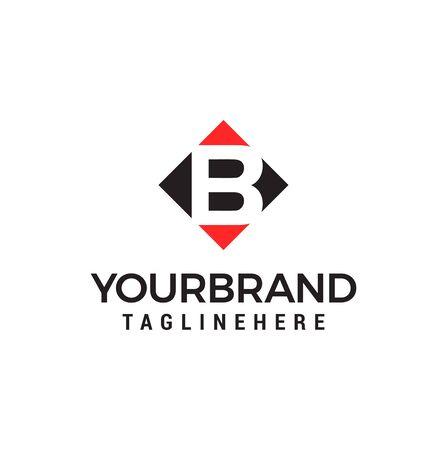 letter B negative space square logo vector design template Vettoriali