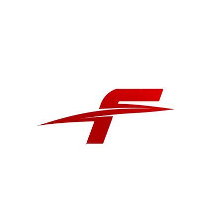 Modello di disegno vettoriale di lettera iniziale basata su F affettato alla moda creativa alla moda