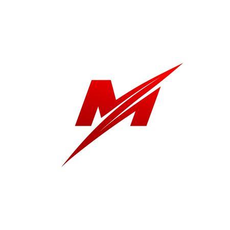 Trendy creative stylish sliced M initial based letter vector design template Ilustracja