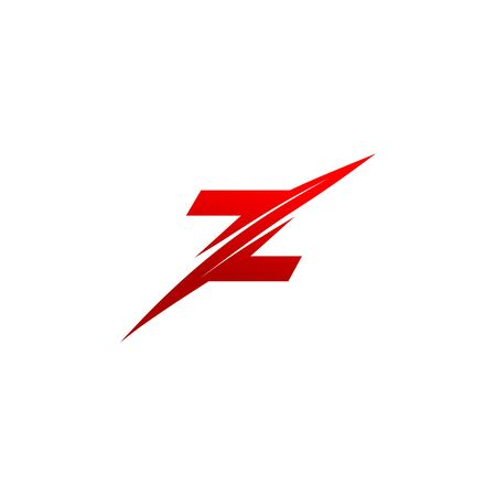 Trendy creative stylish sliced Z initial based letter vector design template