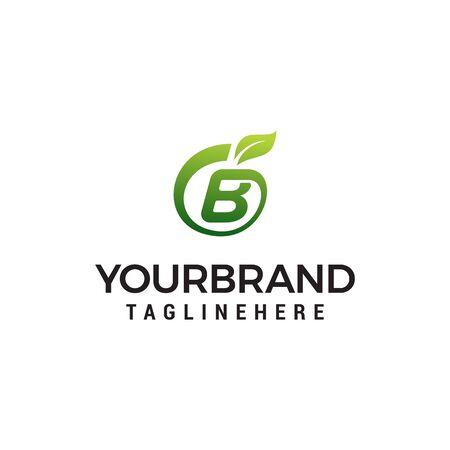 B logo initial letter design template vector with leaf fruit logo design concept template