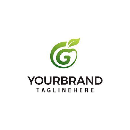 G logo initial letter design template vector with leaf fruit logo design concept template Ilustracja