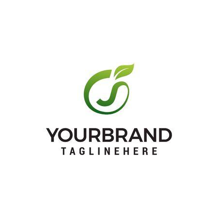 J logo initial letter design template vector with leaf fruit logo design concept template Ilustracja
