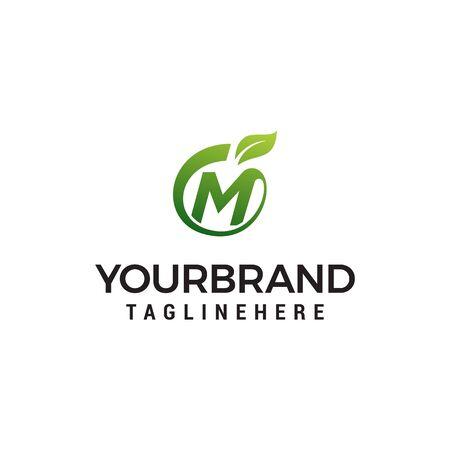 M logo initial letter design template vector with leaf fruit logo design concept template