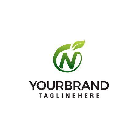 N logo initial letter design template vector with leaf fruit logo design concept template