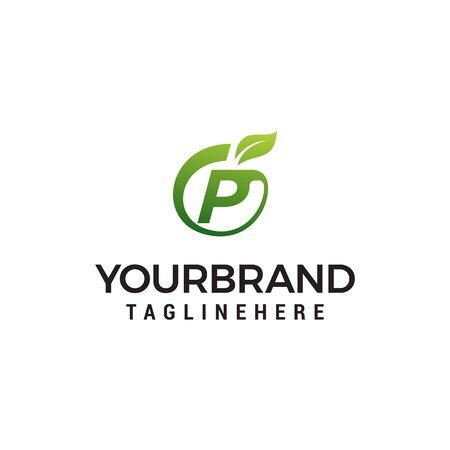 P logo initial letter design template vector with leaf fruit logo design concept template