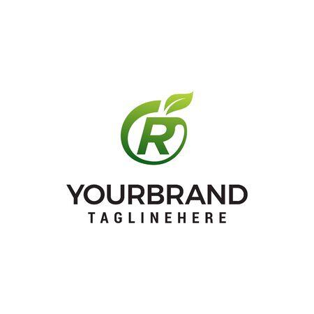 R logo initial letter design template vector with leaf fruit logo design concept template