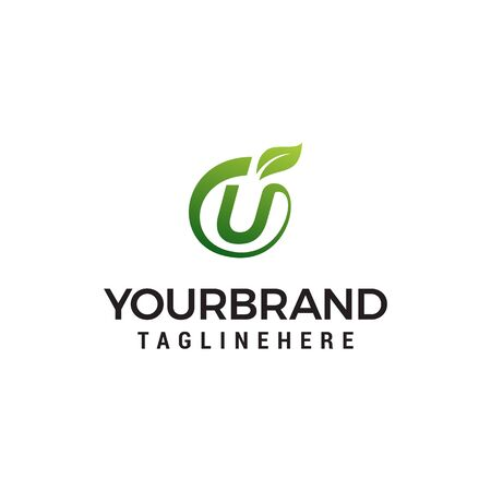 U logo initial letter design template vector with leaf fruit logo design concept template