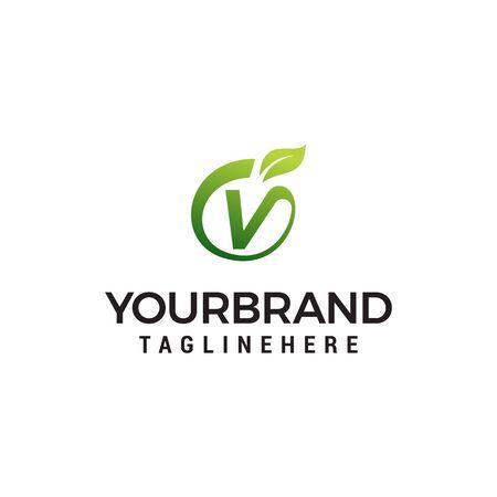 V logo initial letter design template vector with leaf fruit logo design concept template