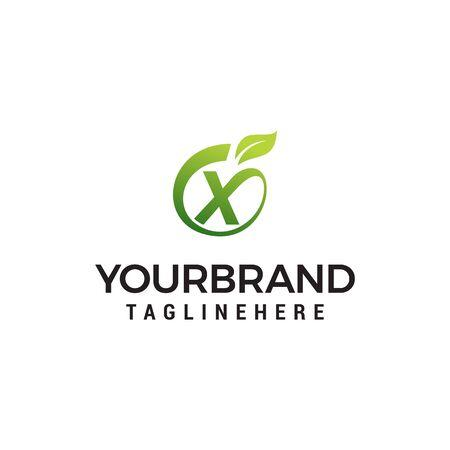 X logo initial letter design template vector with leaf fruit logo design concept template Ilustracja