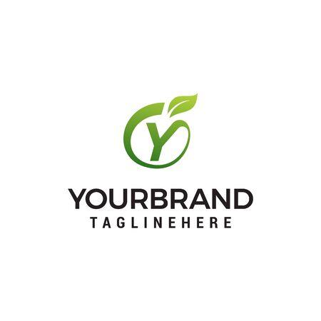 Y logo initial letter design template vector with leaf fruit logo design concept template