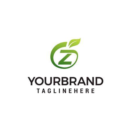Z logo initial letter design template vector with leaf fruit logo design concept template