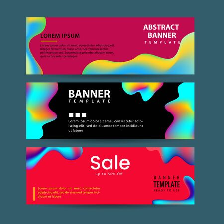 Vector design for horizontal banners set, web banners with Colorful liquid shapes with gradients.