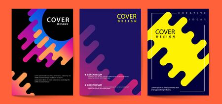 Futuristic vector cover template with geometric shapes bright gradients, modern concept. ideal for banner, web, header, page, cover, billboard, brochure, print. Ilustracja