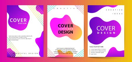 Fluid color covers set. Colorful bubble shapes composition. Dynamic colorful poster set with fluid shapes, bright gradients, modern concept. minimal background. ideal for banner, web, header, page, cover, billboard, brochure, print.