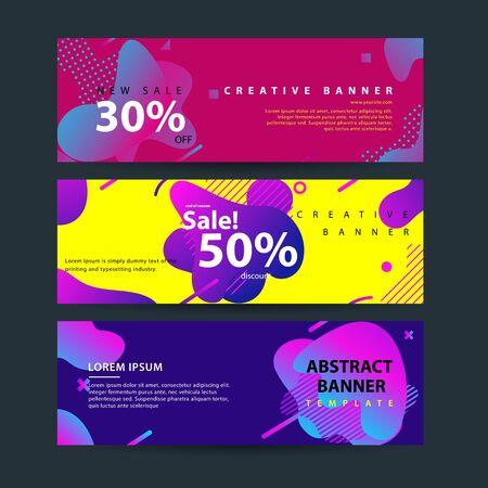 Horizontal banner set with Modern Colorful fluid element web template . Modern flat material design