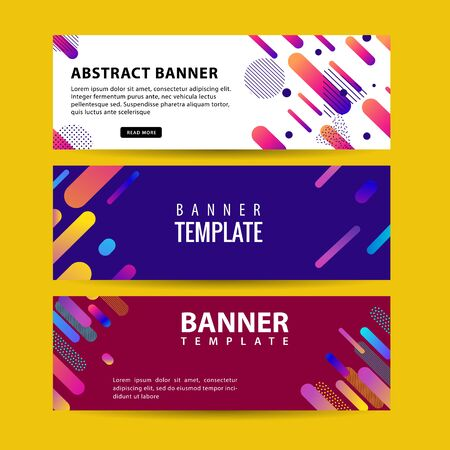 Abstract motion banners. Colorful geometric shapes composition. Trendy design. vector geometric banners set. Ilustracja