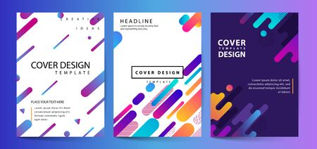 Vector printed cover template with abstract colorful shapes. Trendy neon color lines and hexagons in a modern material design style. Geometric lines on a dark background. Ilustracja