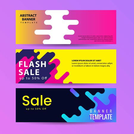Abstract motion banners. Colorful geometric shapes composition. Trendy design. vector geometric banners set. 일러스트