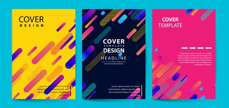 Vector printed cover template with abstract colorful shapes. Trendy neon color lines and hexagons in a modern material design style. Geometric lines on a dark background. 일러스트