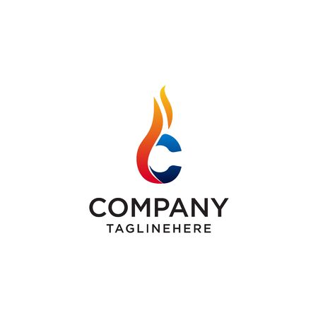 initial Letter C fire logo design. fire company logos, oil companies, mining companies, fire logos, marketing, corporate business logos. icon. vector