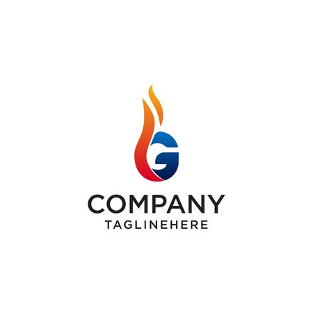initial Letter G fire logo design. fire company logos, oil companies, mining companies, fire logos, marketing, corporate business logos. icon. vector Foto de archivo - 129609502