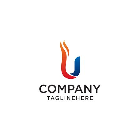 initial Letter U fire logo design. fire company logos, oil companies, mining companies, fire logos, marketing, corporate business logos. icon. vector