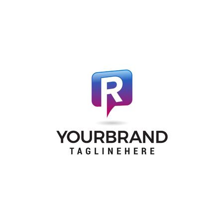 letter R chat logo abstract, vector alphabet. Communication icon vector, social media icon Stock Vector - 129609527