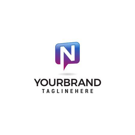 litera N czat logo streszczenie, alfabet wektor. Wektor ikony komunikacji, ikona mediów społecznościowych