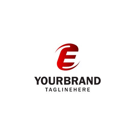 letter E spin rotation logo design concept template