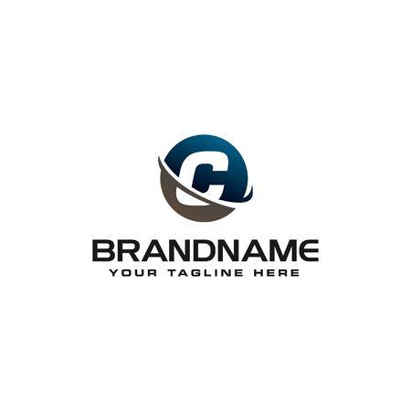 initial C technology swoosh company letter logo design vector icon template Ilustração