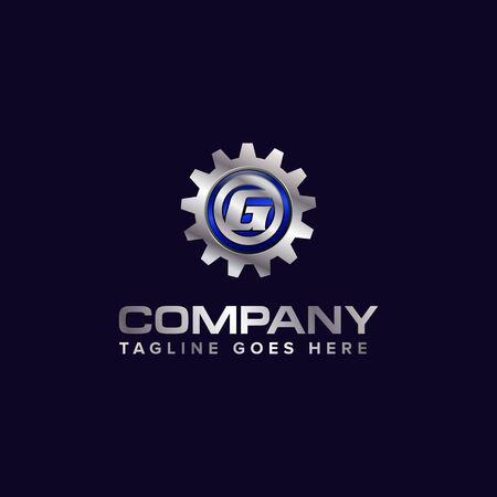 Letter G gear vector template logo. This Design is suitable for technology, industrial or automotive. Gradient. Gray.