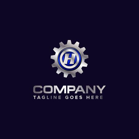 Letter H gear vector template logo. This Design is suitable for technology, industrial or automotive. Gradient. Gray. Ilustrace
