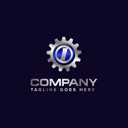 Letter I gear vector template logo. This Design is suitable for technology, industrial or automotive. Gradient. Gray.