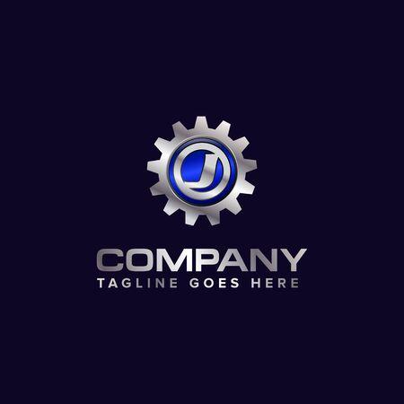 Letter J gear vector template logo. This Design is suitable for technology, industrial or automotive. Gradient. Gray. Reklamní fotografie - 129612650