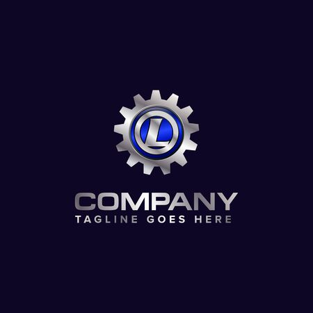 Letter L gear vector template logo. This Design is suitable for technology, industrial or automotive. Gradient. Gray.