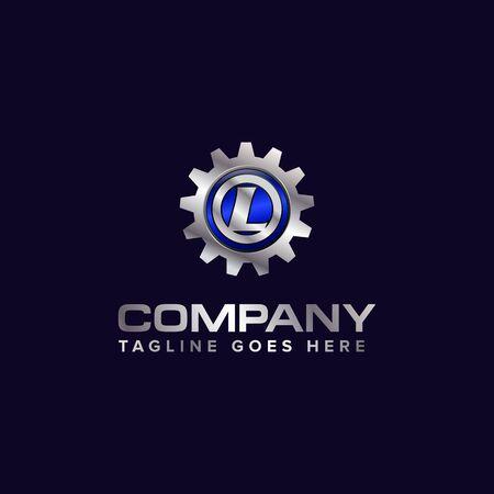 Letter L gear vector template logo. This Design is suitable for technology, industrial or automotive. Gradient. Gray. Reklamní fotografie - 129612654