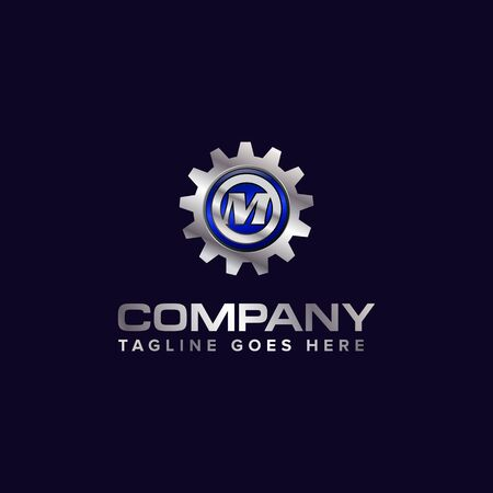 Letter M gear vector template logo. This Design is suitable for technology, industrial or automotive. Gradient. Gray. 向量圖像