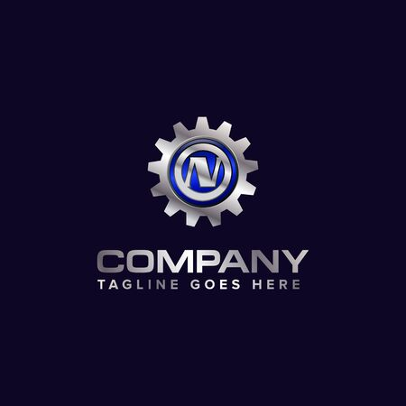 Letter N gear vector template logo. This Design is suitable for technology, industrial or automotive. Gradient. Gray. Reklamní fotografie - 129612657